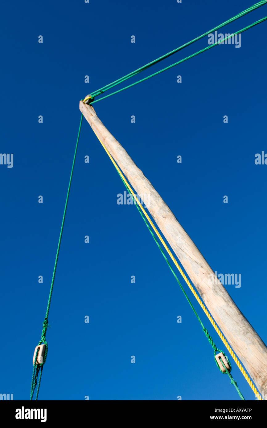 Mast of dhow, Chole Bay, Mafia Island, Tanzania - Stock Image