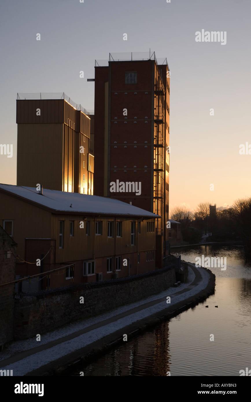 Sunrise behind ADM Milling in Knottingley West Yorkshire Stock Photo