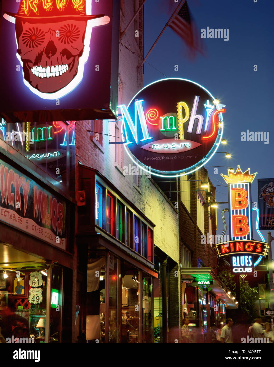 The famous Beale Street at night, Memphis, Tennessee, United States of America, North America - Stock Image