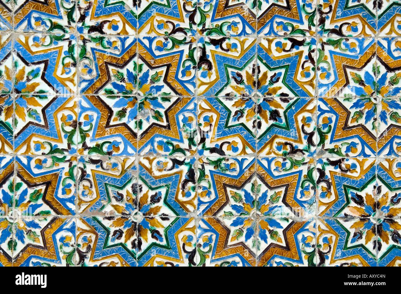 Azulejos tiles in the Mudejar style, Casa de Pilatos, Santa Cruz district, Seville, Andalusia (Andalucia), Spain, - Stock Image