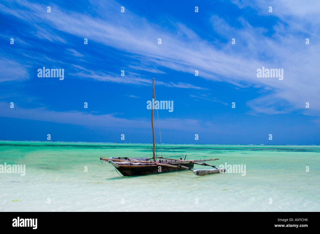 A dhow in the Indian Ocean, Paje, Zanzibar, Tanzania, East Africa, Africa - Stock Image