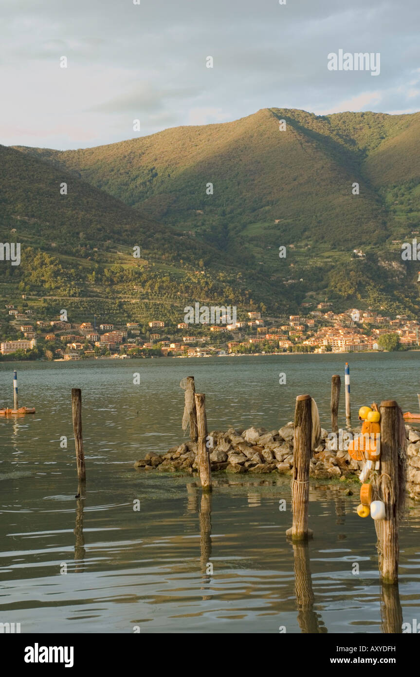 View to Sarnico, Lago d'Iseo, Lombardia (Lombardy), Italy, Europe - Stock Image