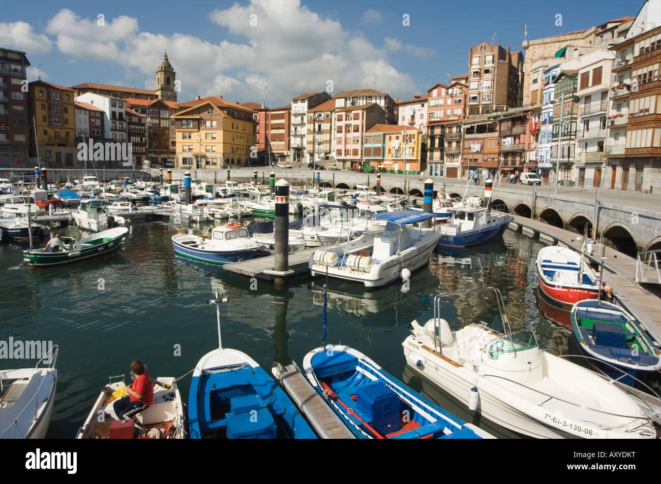 Old Town Harbour, Bermeo, Euskadi (Basque Country) (Pais Vasco), Spain, Europe - Stock Image