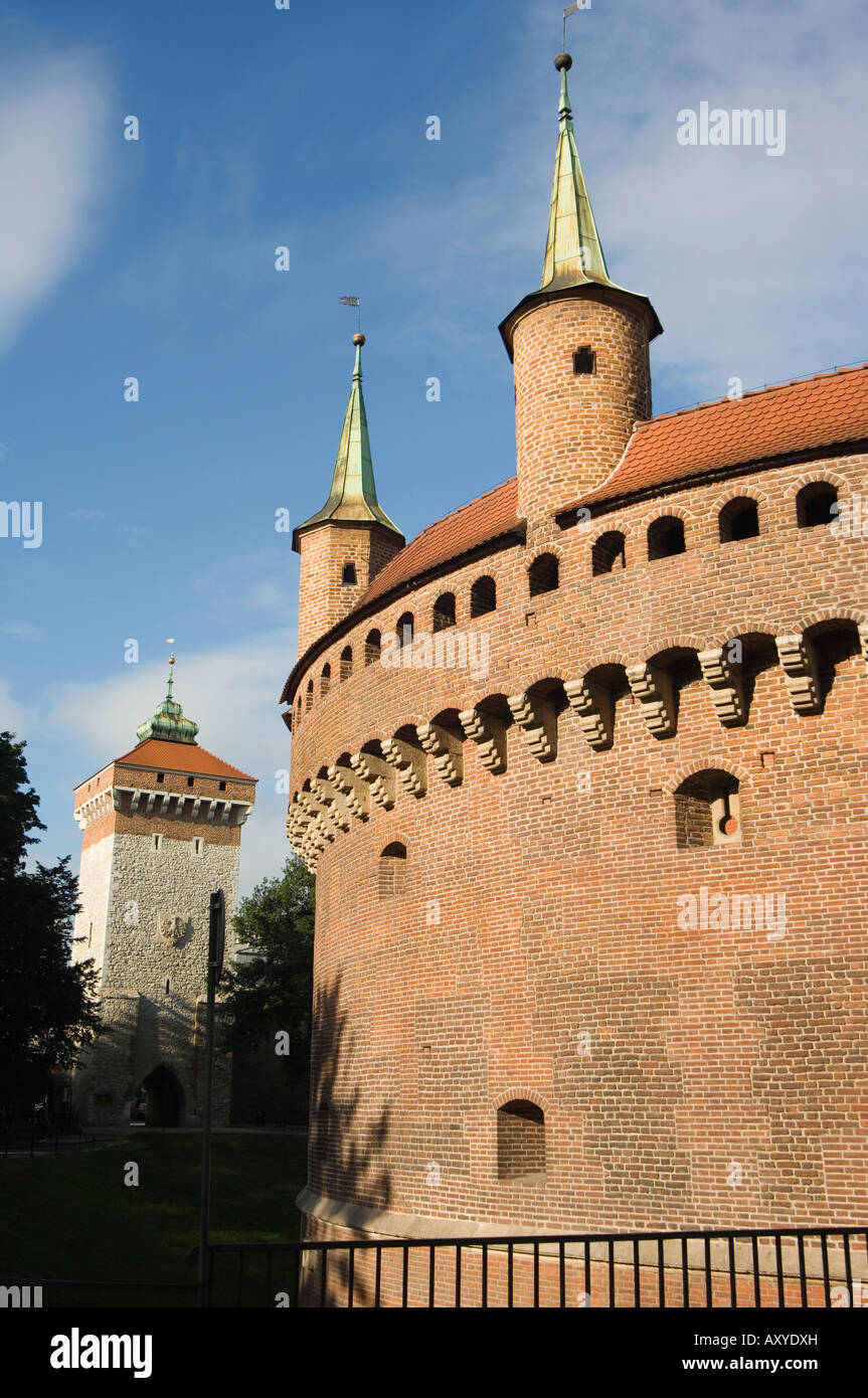 Old Town Barbican defensive bastion built in 1498, Krakow (Cracow), UNESCO World Heritage Site, Poland, Europe - Stock Image