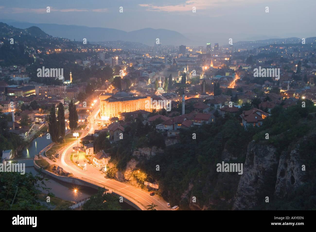 Panoramic night view of the city, Sarajevo, Bosnia, Bosnia-Herzegovina, Europe - Stock Image