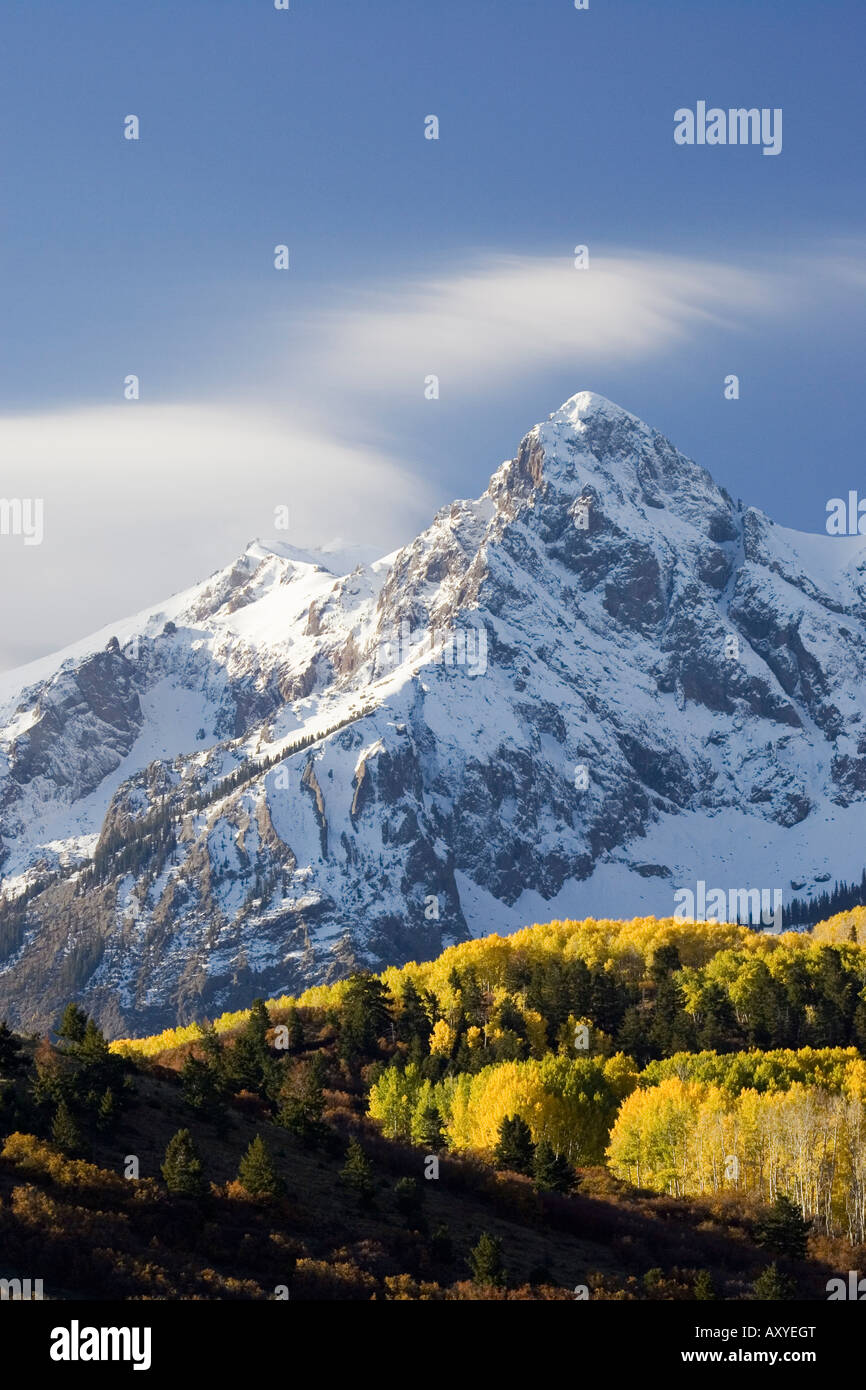 Snow capped mountain and fall colors, Dallas Divide, Colorado, United States of America, North America - Stock Image
