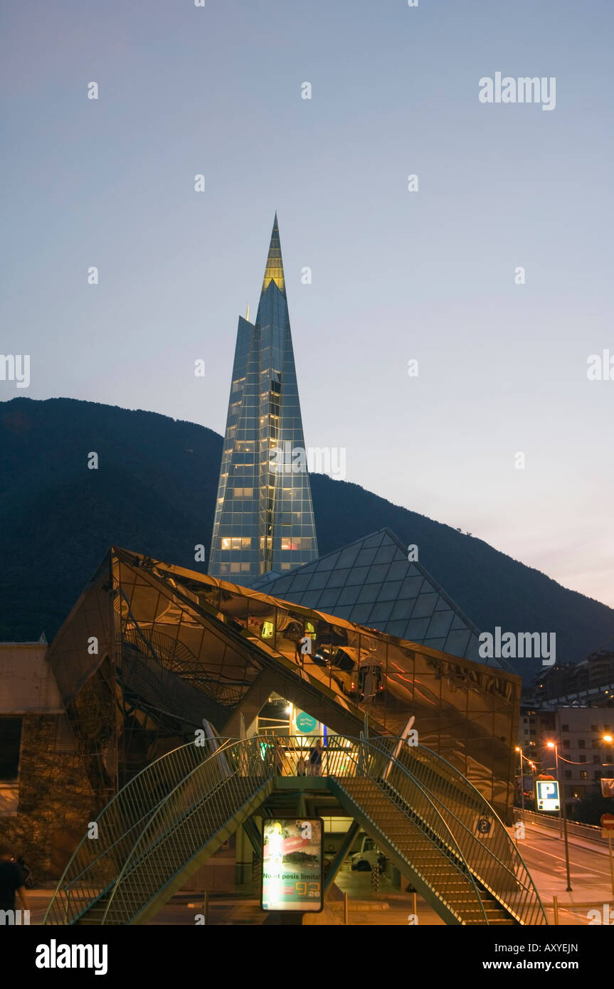 Caldea Hot Spring Complex lit up in the evening, Andorra La Vella, Andorra, Europe - Stock Image