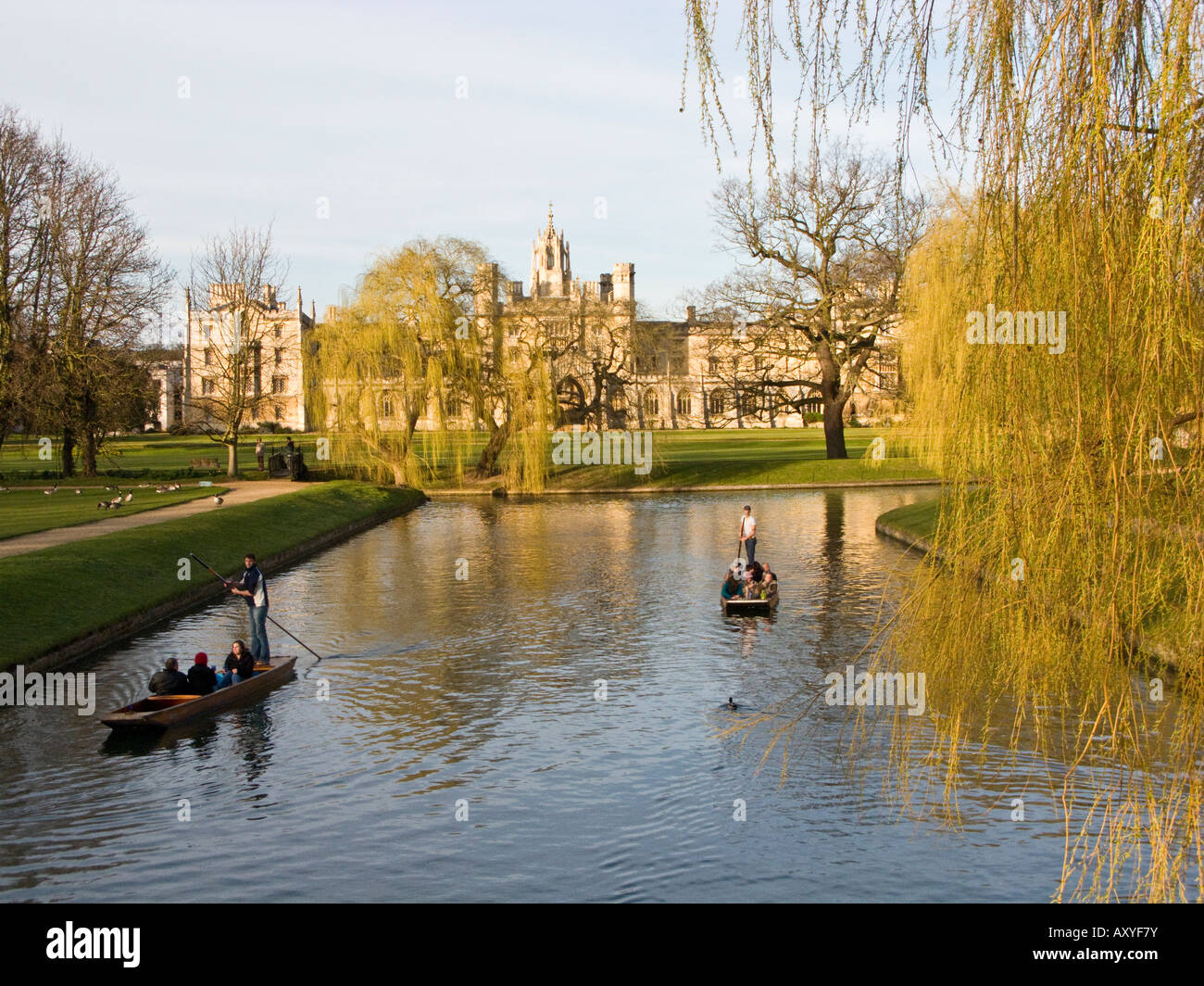 punts on the river at King's College College, Cambridge, England - Stock Image