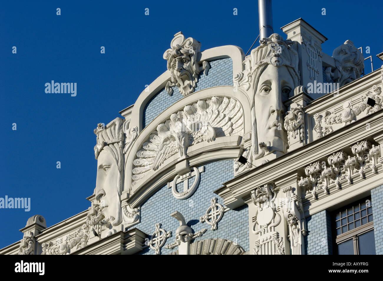 Art Nouveau architecture, 10b Elizabetes iela, designed by Mikhail Eisenstein, Riga, Latvia, Baltic States, Europe - Stock Image