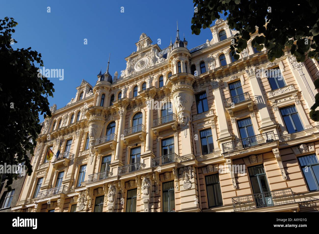 Art Nouveau architecture, 13 Alberta iela, Riga, Lativa, Baltic States, Europe - Stock Image