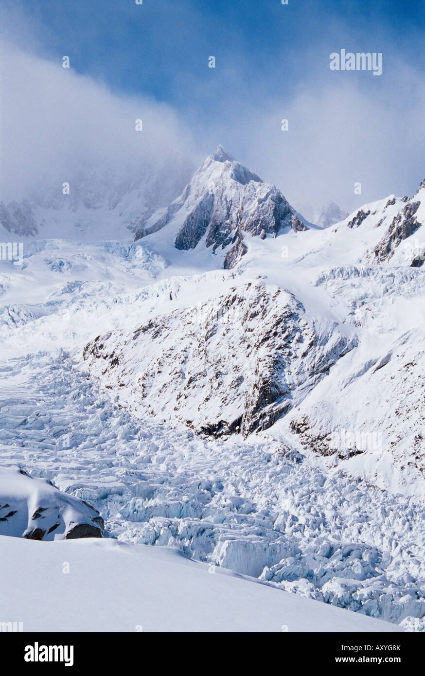 Upper Fox Glacier and the Southern Alps, Westland National Park, UNESCO World Heritage Site, Westland, South Island, - Stock Image