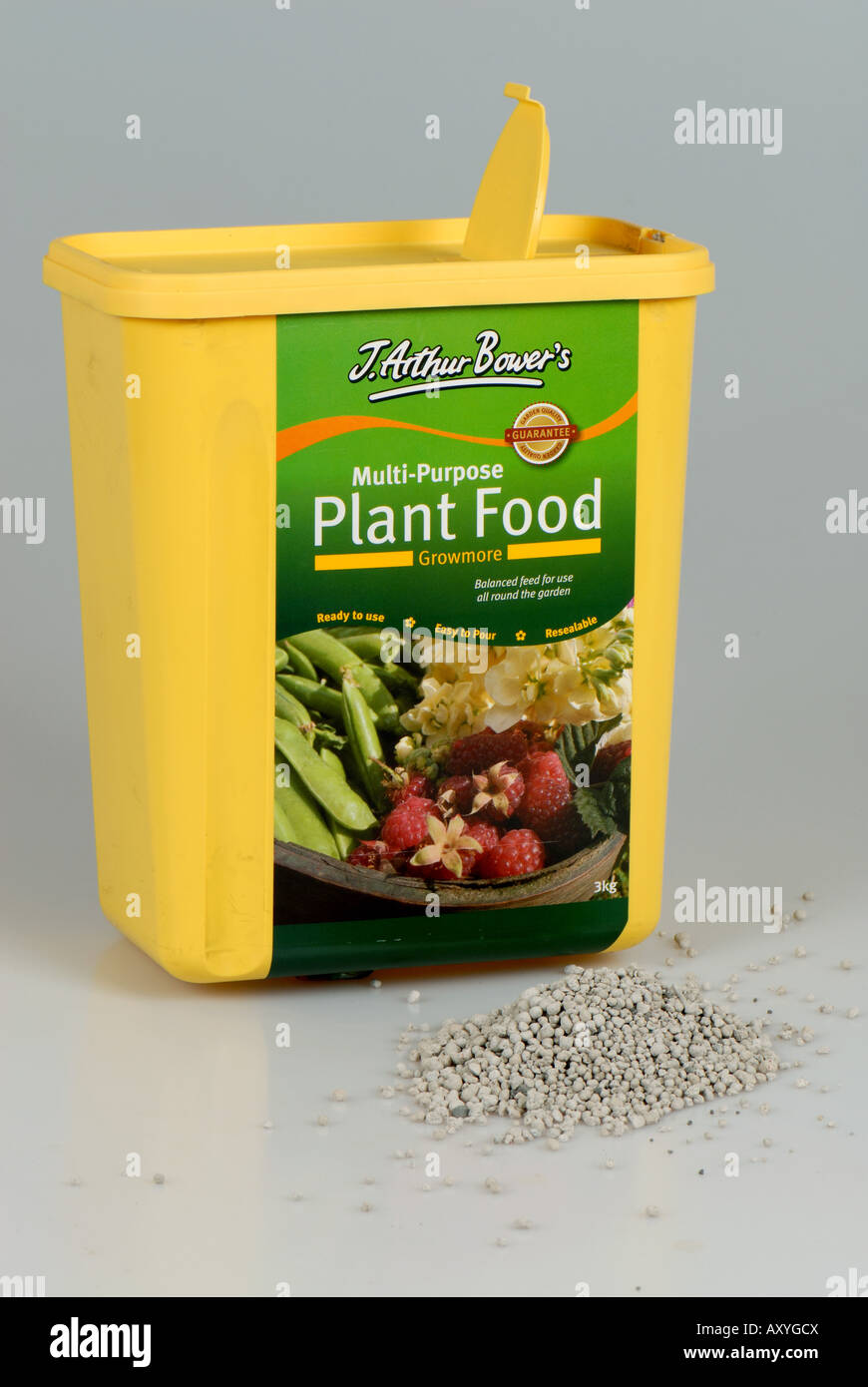 J Arthur Bowers Growmore multi purpose plant food in a plastic container for garden use - Stock Image