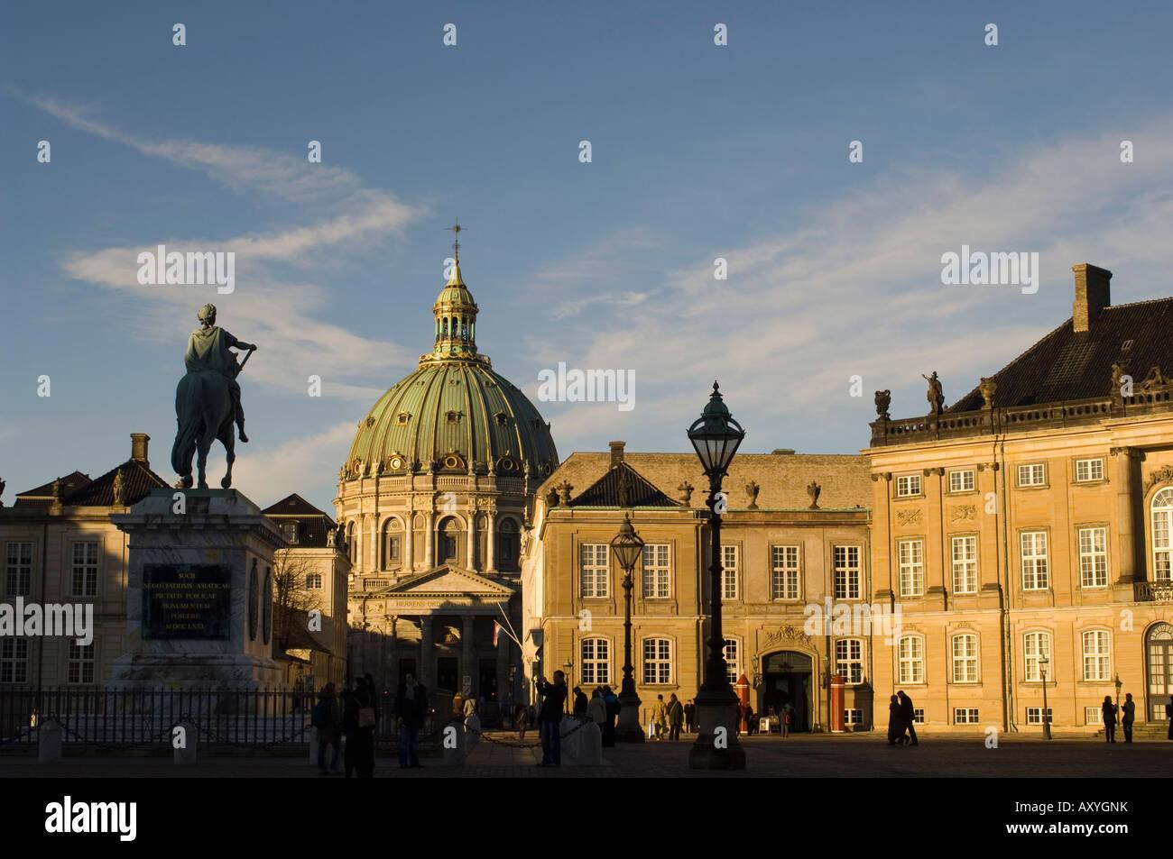 Frederik V statue and Frederikskirken (Marmorkirken) (Marble Church), Amalienborg, Copenhagen, Denmark, Scandinavia, - Stock Image