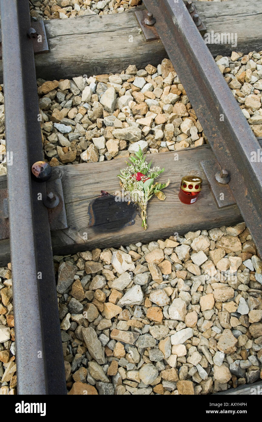 Tributes left to the dead at Auschwitz second concentration camp at Birkenau, near Krakow (Cracow), Poland - Stock Image
