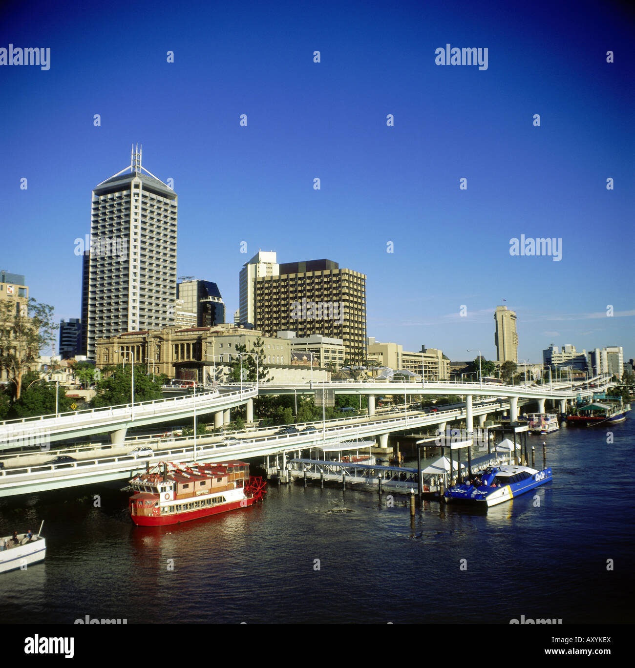 geography / travel, Australia, Queensland, Brisbane, city view, cityscape, water expressway, motorway, ships, Additional - Stock Image