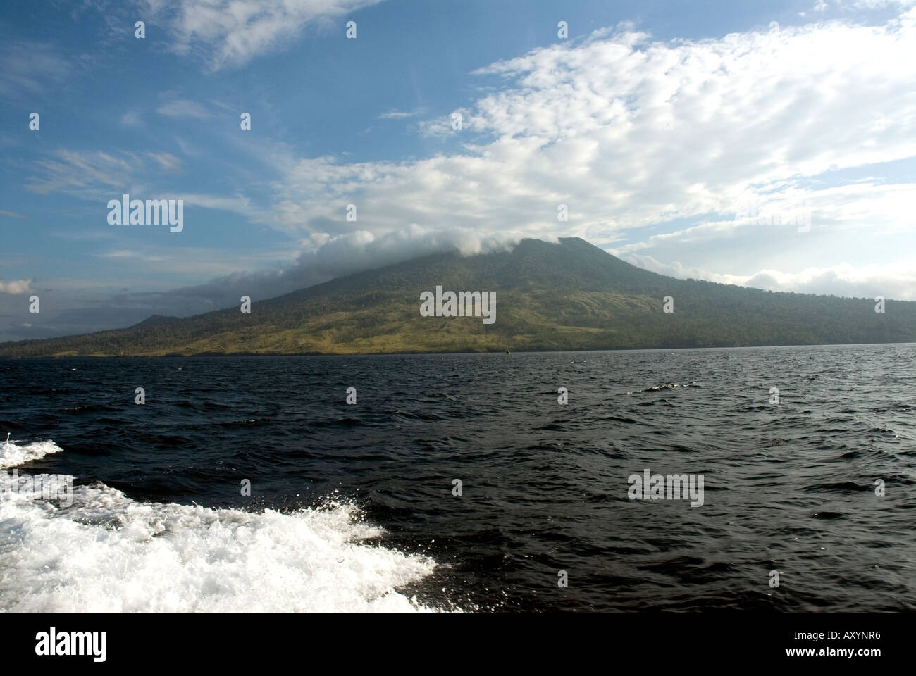 view of north Sulawesi from the sea sulawesi utara Indonesia - Stock Image