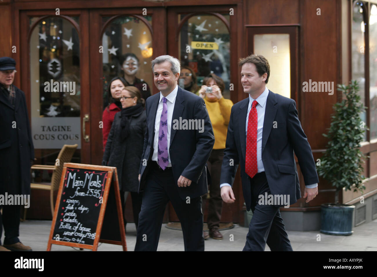 Nick Clegg and Chris Huhne arrive for the announcement of who has won the contest to become new leader of the Liberal - Stock Image