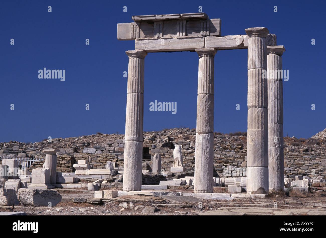 Delos, Löwenterassen, Ruine Tempel - Stock Image