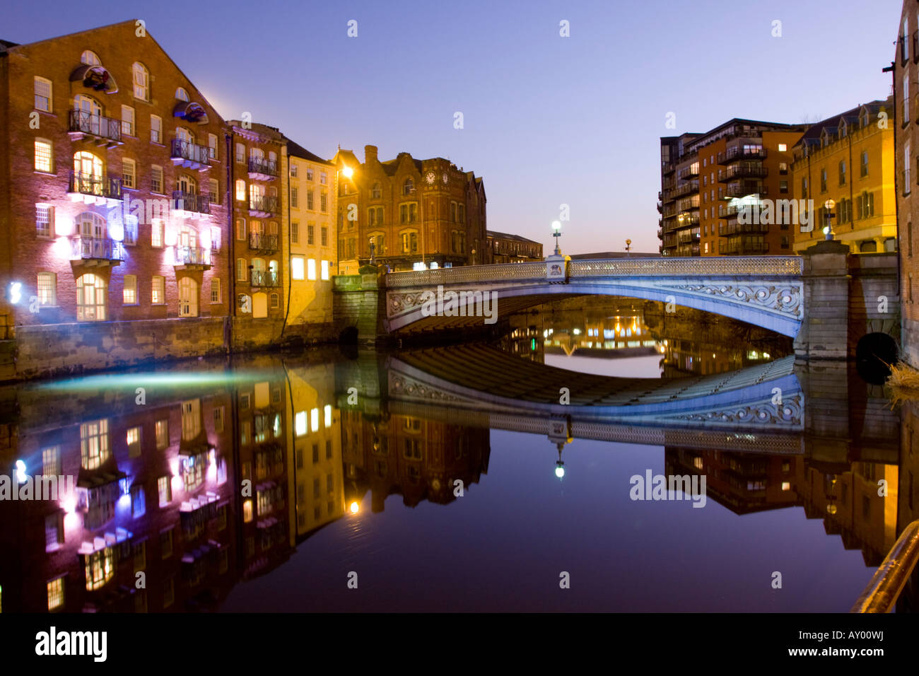Leeds Bridge at dusk West Yorkshire UK - Stock Image