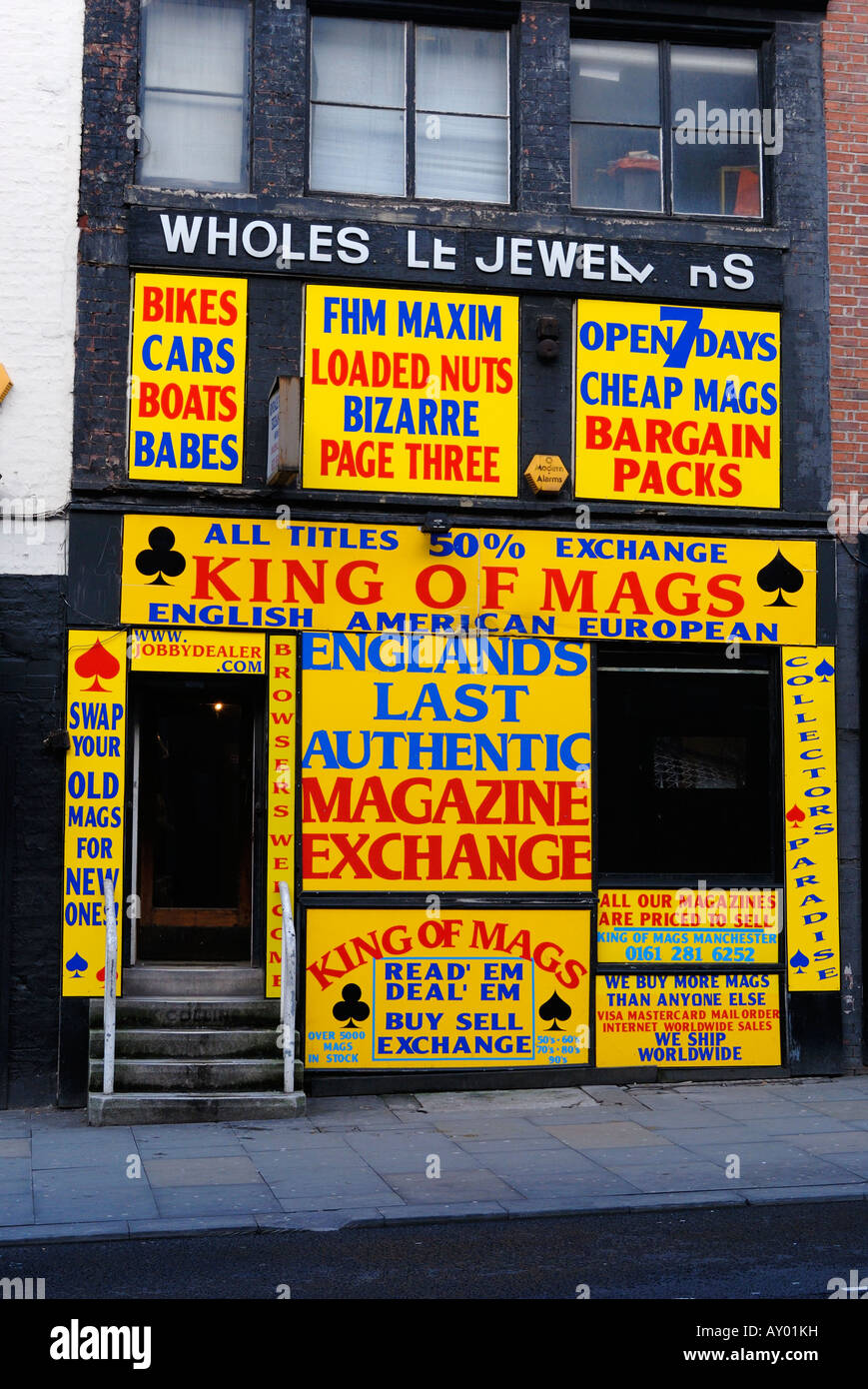 Magazine exchange shop and trader on Shude Hill in manchester, northwest England - Stock Image