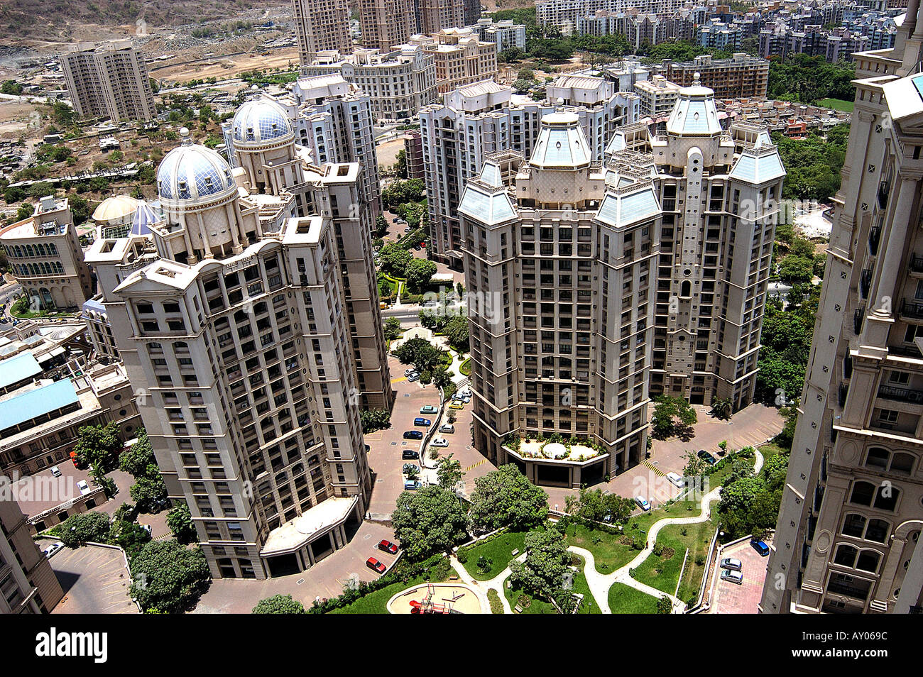 asian indian modern high rise tall skyscrapers buildings at stock