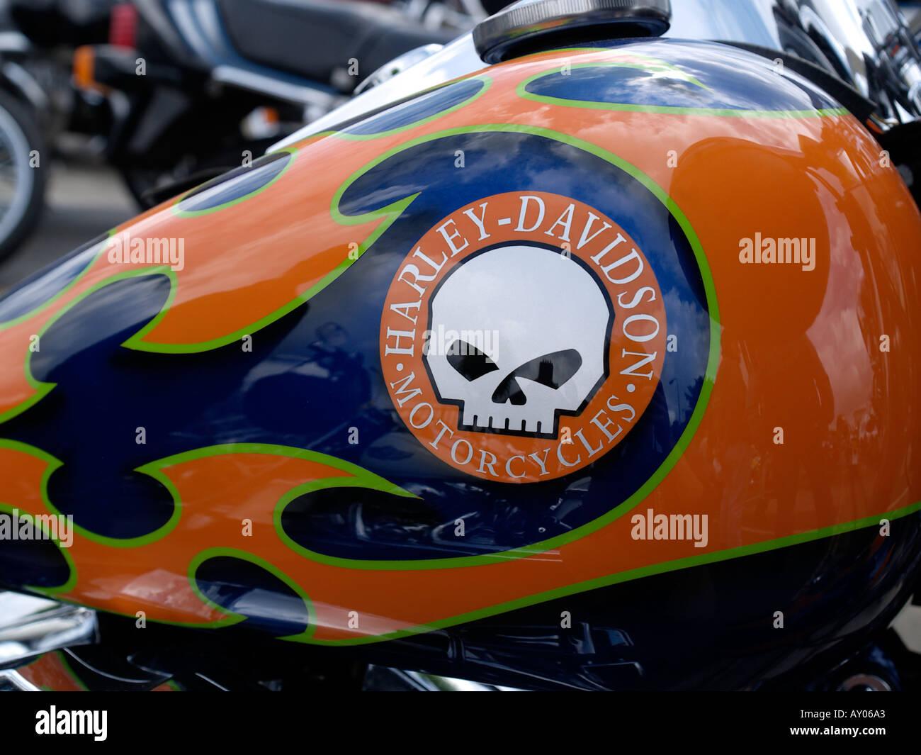 Harley Davidson Motorcycle Fuel Tank With Custom Paint Job And Logo Skull