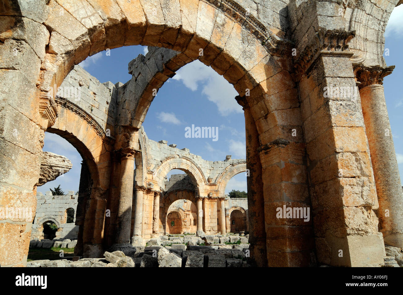 Ruins of the St Simeon basilica, 'qala'at samaan', a historical and tourist landmark located near Aleppo, - Stock Image