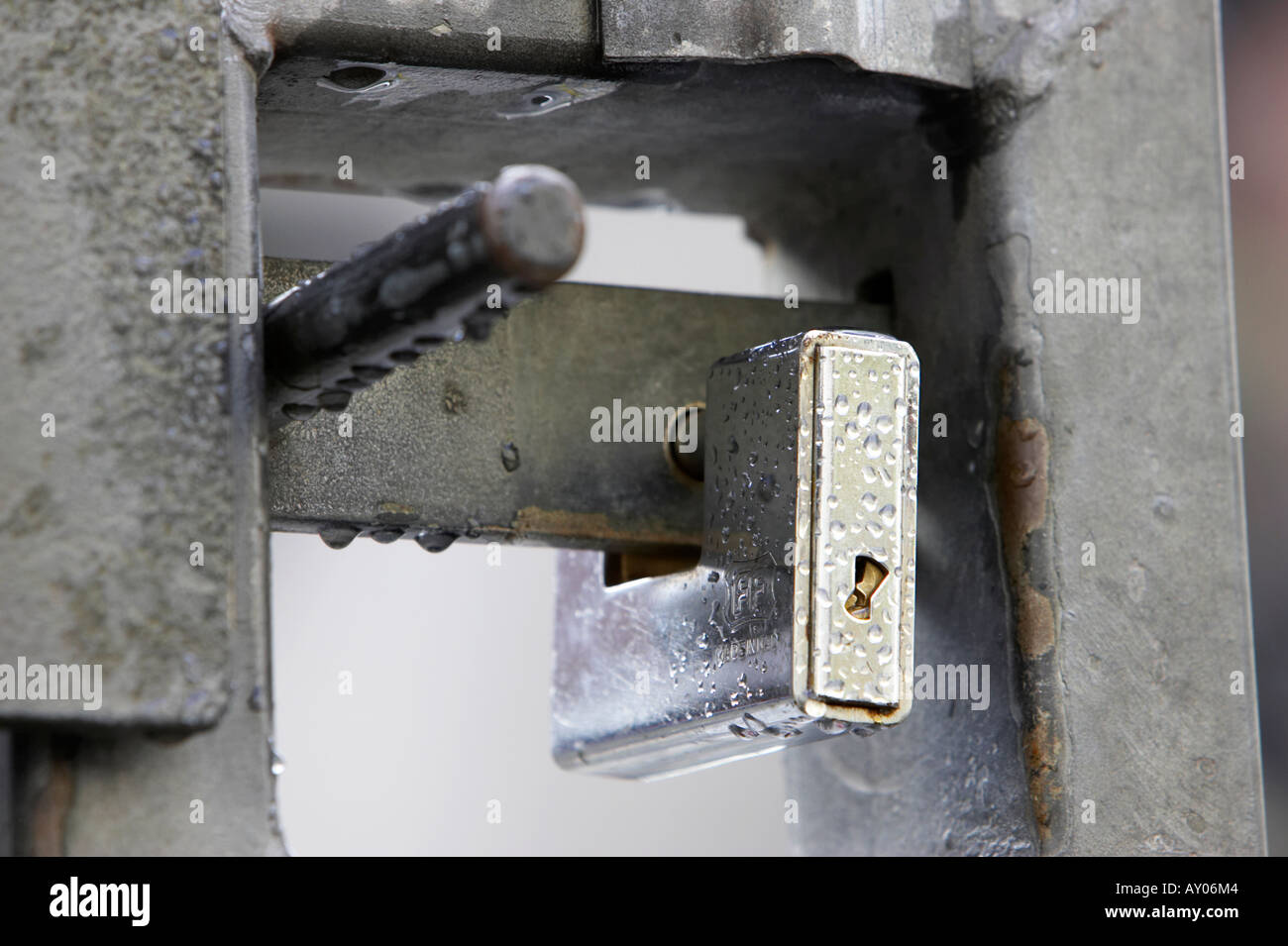 shiney new silver padlock attached to metal gate dripping with water in the rain Cathedral Quarter in Belfast City Centre - Stock Image