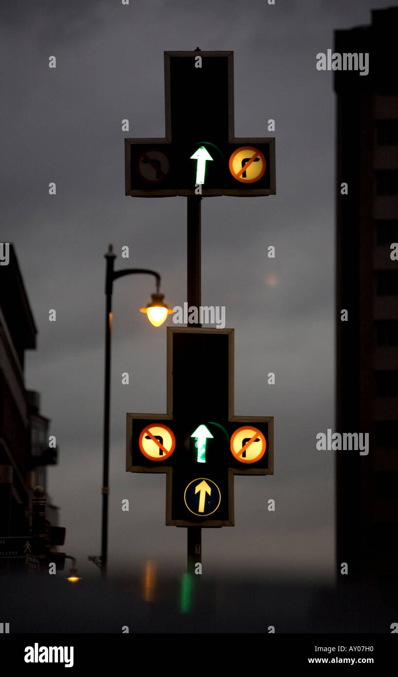A set of traffic lights in Newhall Street Birmingham West Midlands UK - Stock Image
