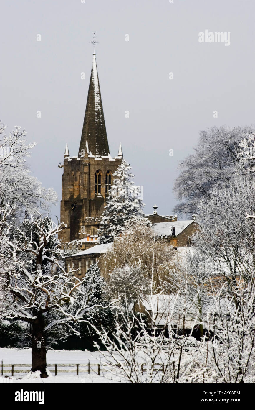 Church scene with snow. Christmas card, Winter Landscape Stock Photo ...