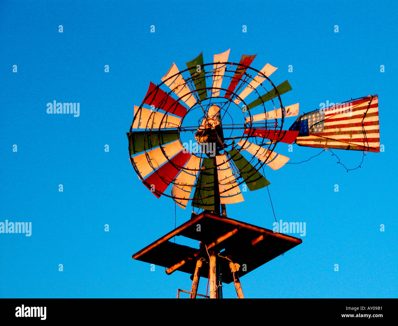 Windmill Painting As Art In Western New Mexico High Plains Pumps Stock Photo Alamy