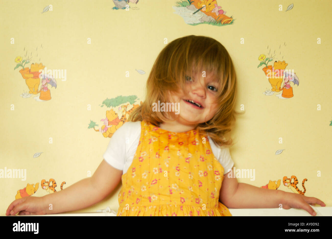 Portrait young girl baby 2 3 years old - Stock Image