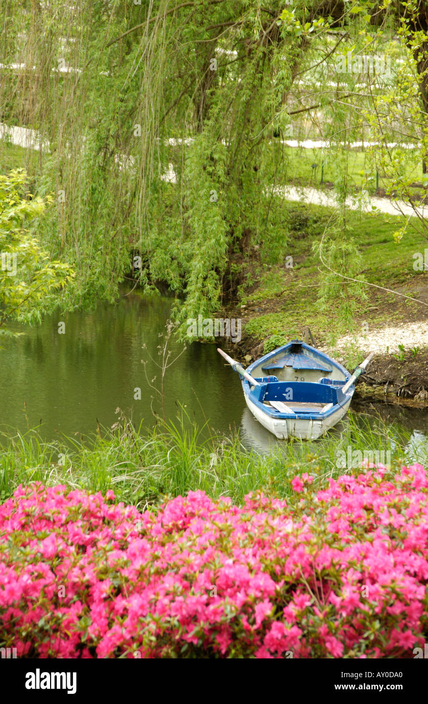 Rowboat boat lake Serene serenity tranquil tranquility nature picturesque anchored lake float floating outdoor outside flower c - Stock Image