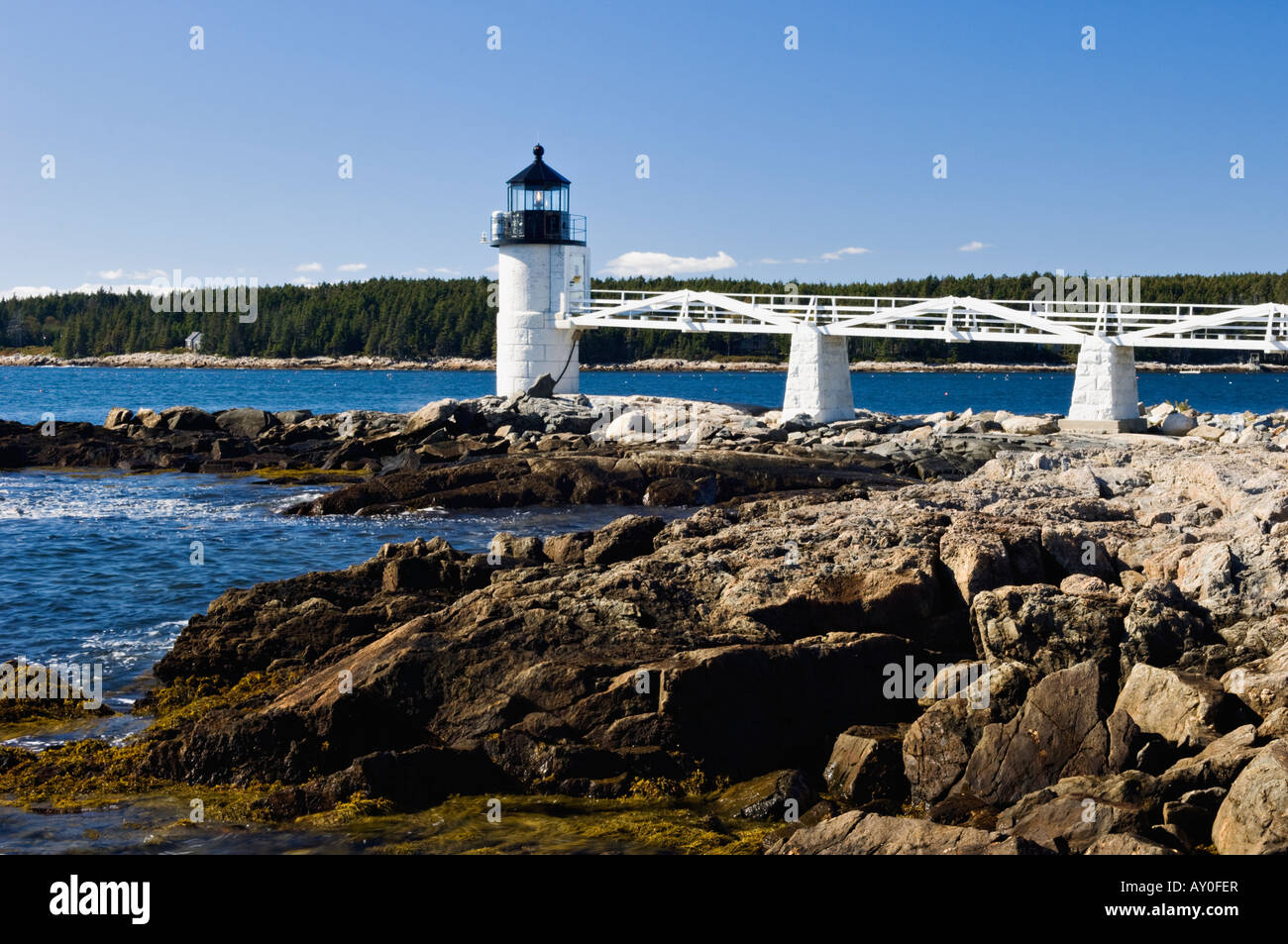 Marshall Point Lighthouse Port Clyde Maine - Stock Image