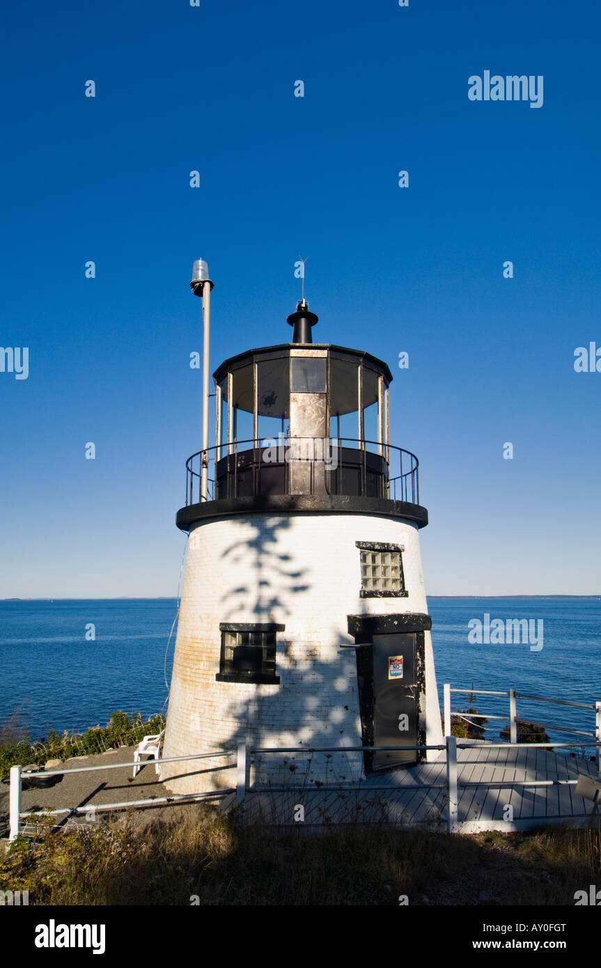 Owl s Head Lighthouse in Owl s Head Light State Park Knox County Maine - Stock Image