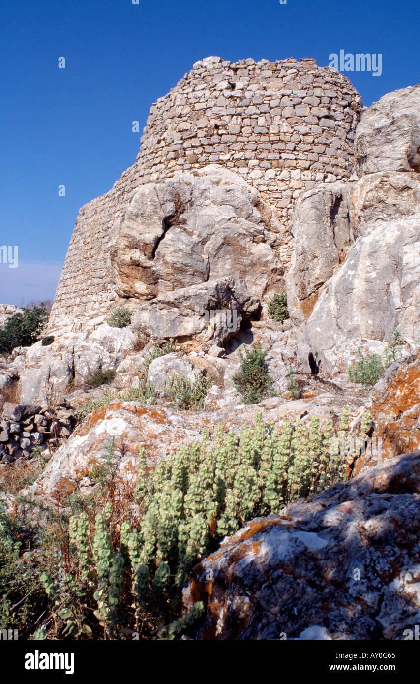 Tilos, Mikro Chorio, Johanniter Ruine, Detail Fassade - Stock Image