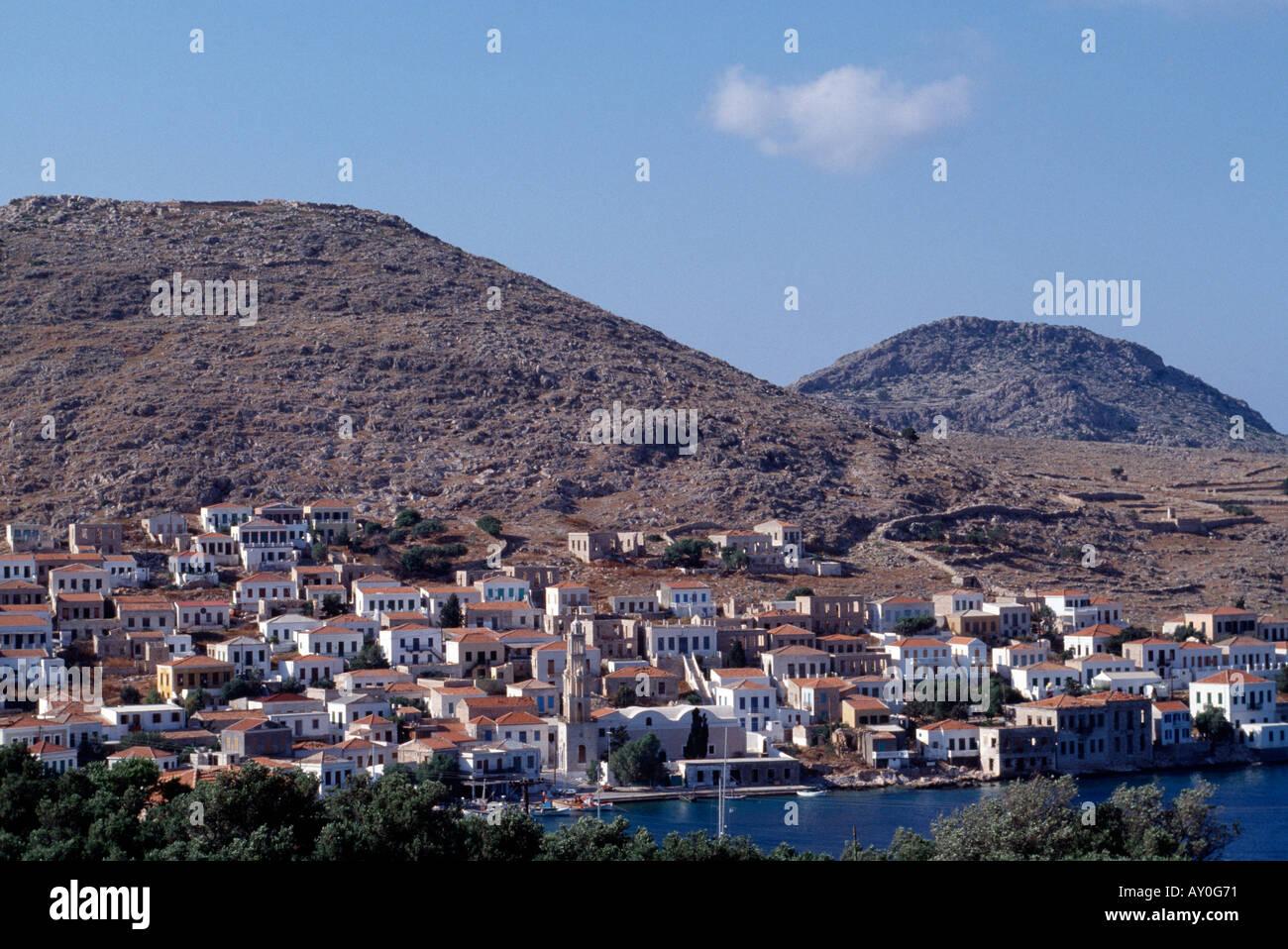 Chalki, Emborios, Stadtansicht - Stock Image