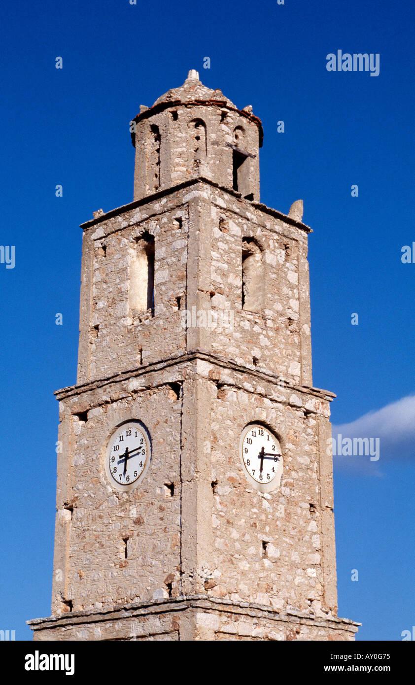 Chalki, Emborios, Uhrturm - Stock Image