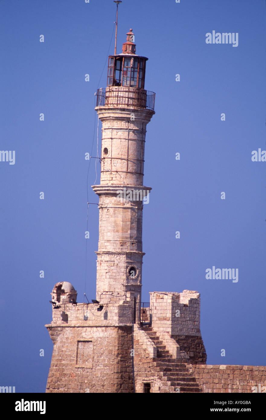 Kreta, Hafenstadt Chania, venezianischer Hafen und Leuchtturm, - Stock Image