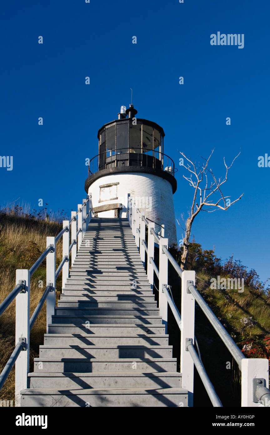 Owl s Head Lighthouse in Owl s Head Light State Park Maine - Stock Image
