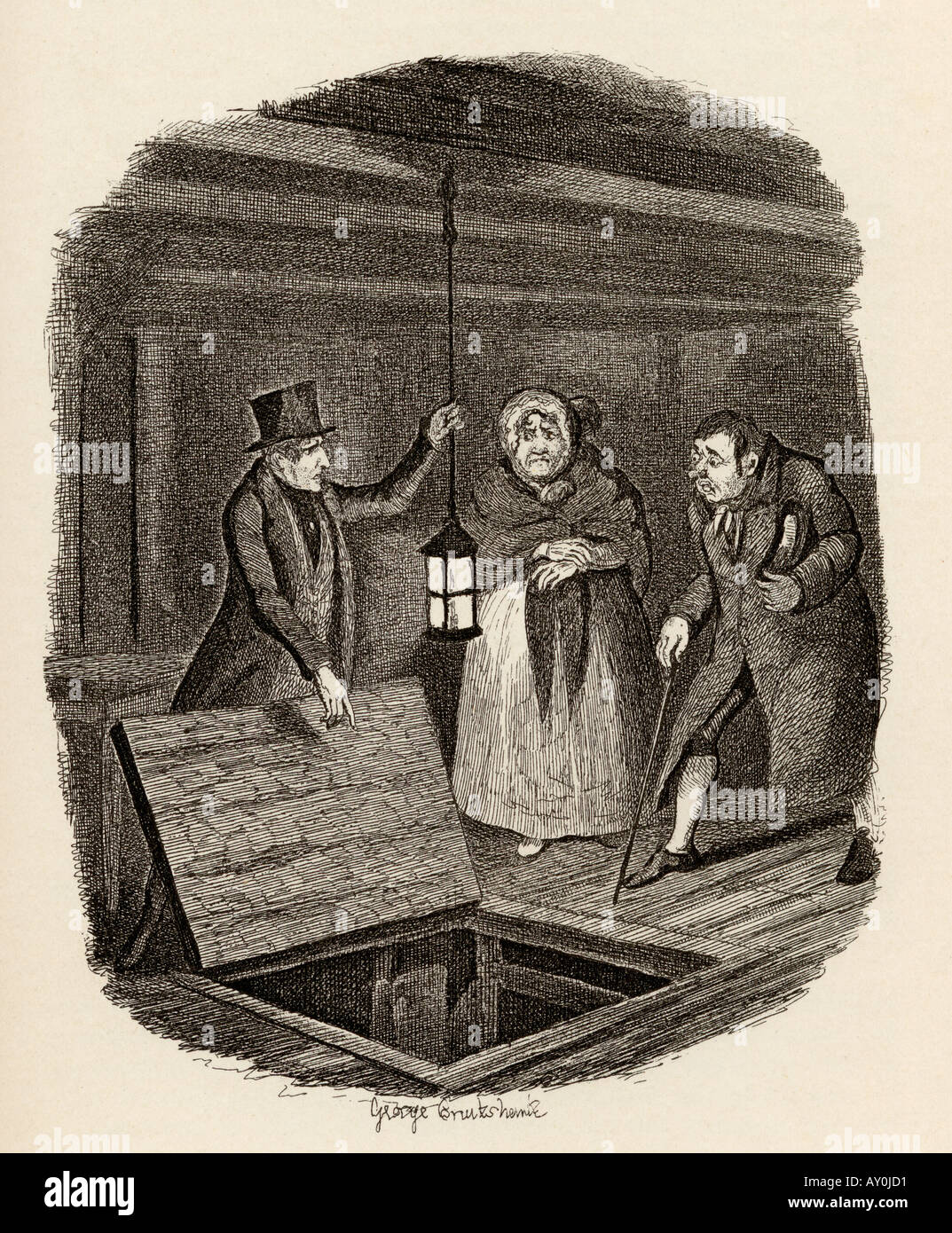 The evidence destroyed From the book The Adventures of Oliver Twist - Stock Image