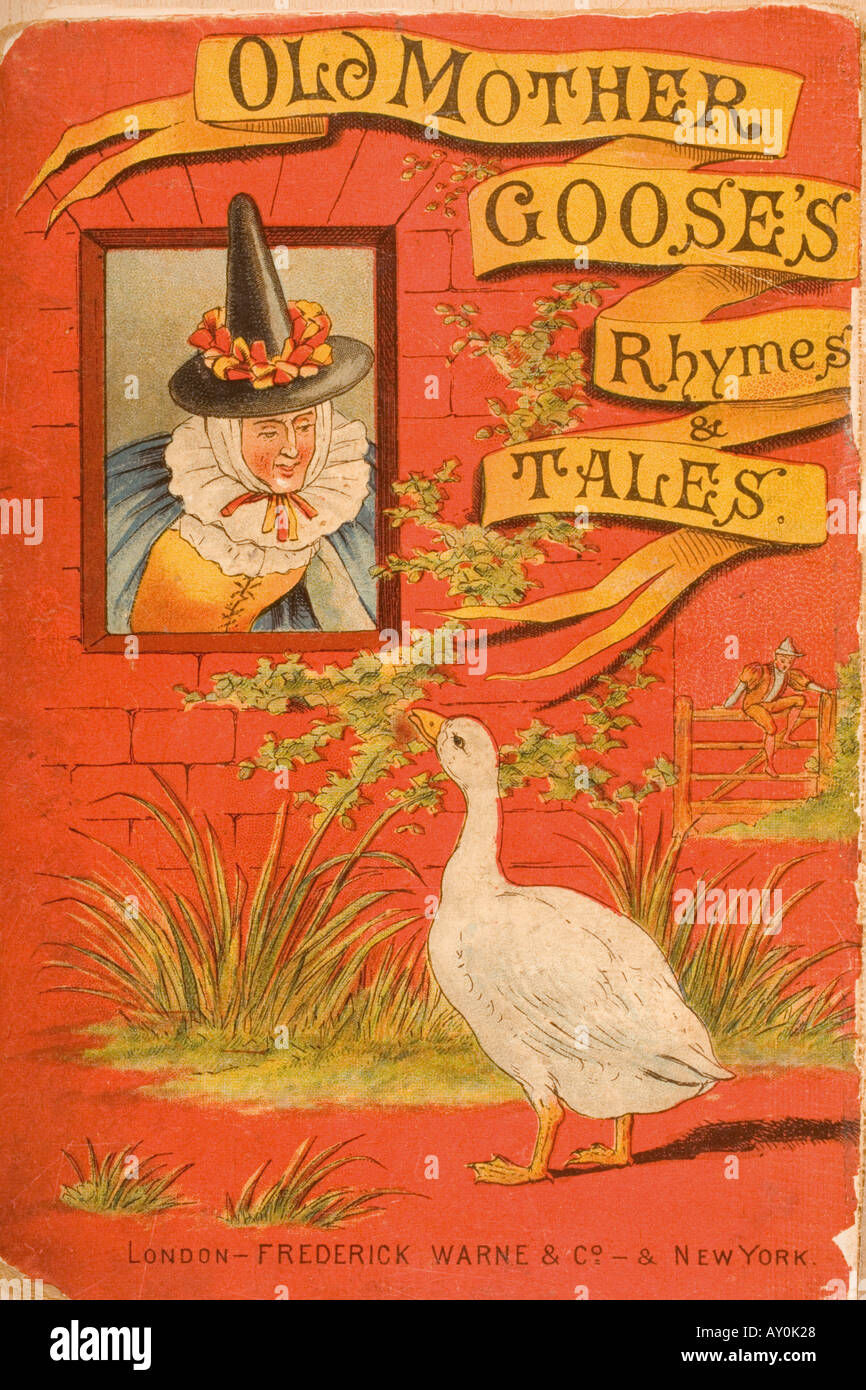 Chromolithographic cover illustration from Old Mother Goose s Rhymes and Tales, circa 1890's - Stock Image