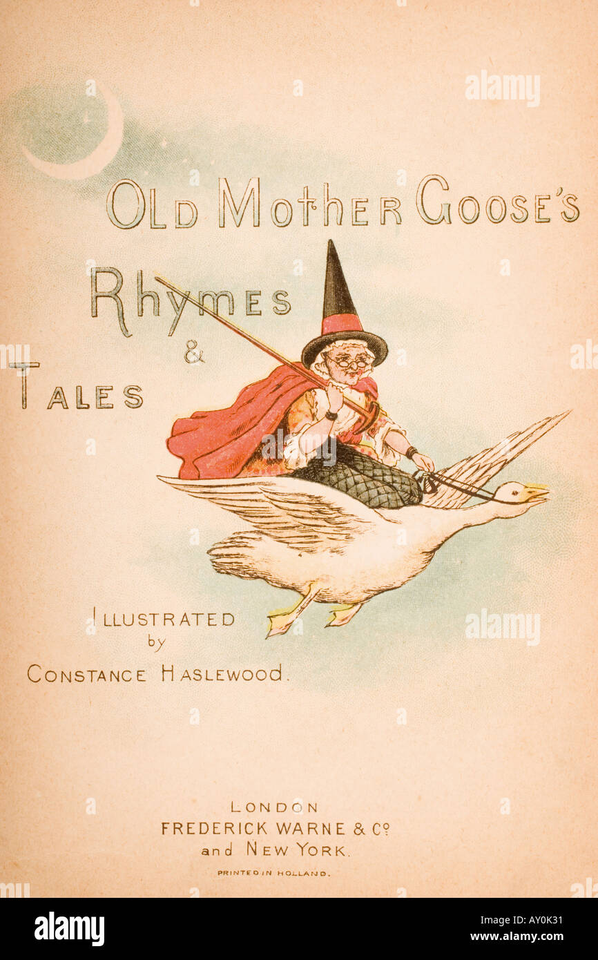 Title page illustration from Old Mother Goose s Rhymes and Tales - Stock Image