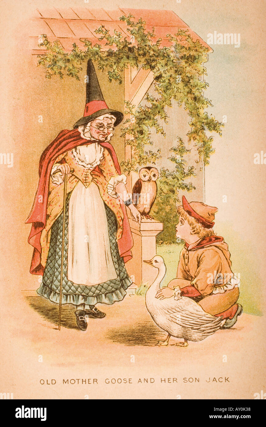 Illustration of old mother goose and her son Jack from Old Mother Goose s Rhymes and Tales - Stock Image
