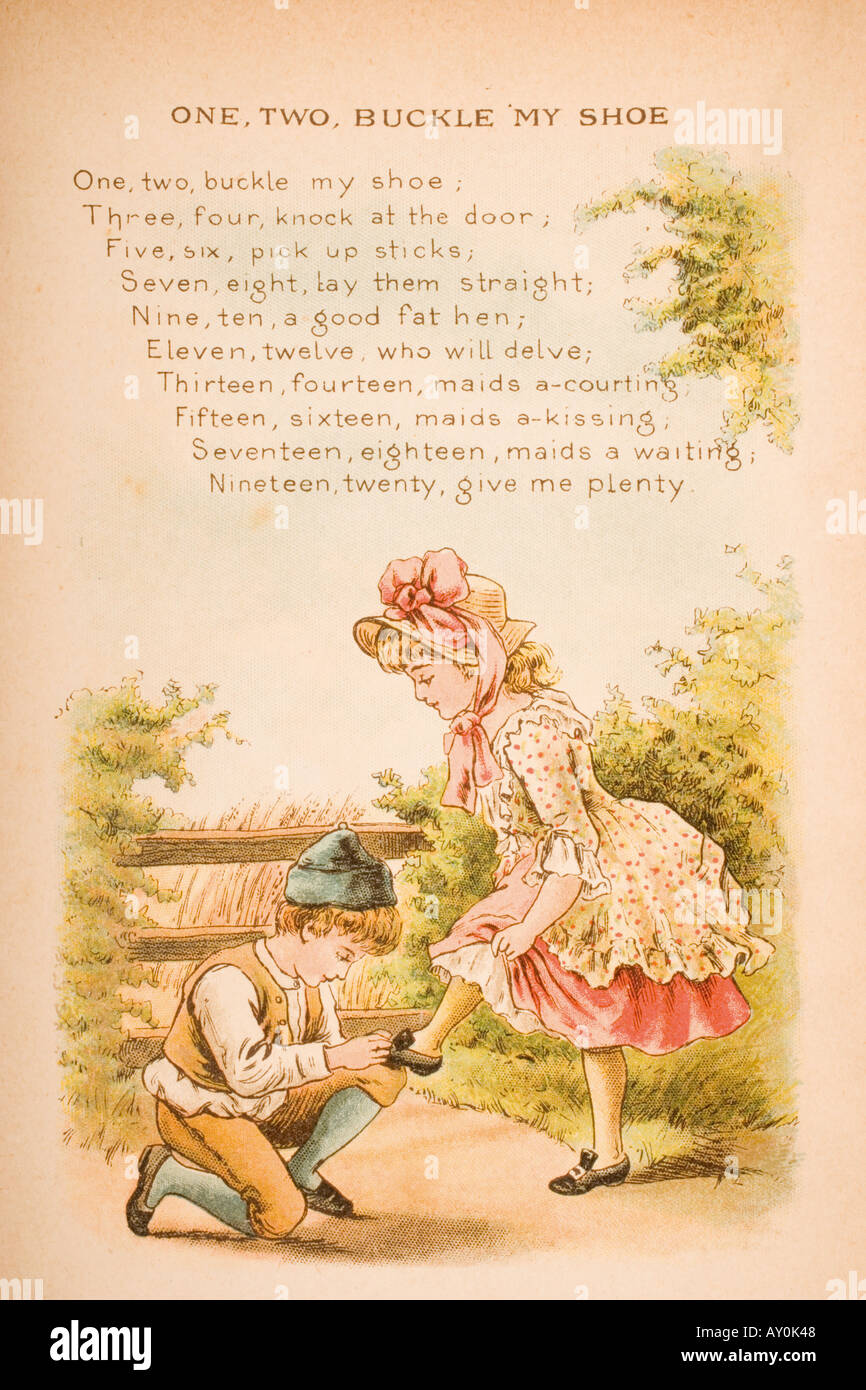 Nursery rhyme and illustration of One Two Buckle My Shoe from Old Mother Goose s Rhymes and Tales & Nursery rhyme and illustration of One Two Buckle My Shoe from Old ...