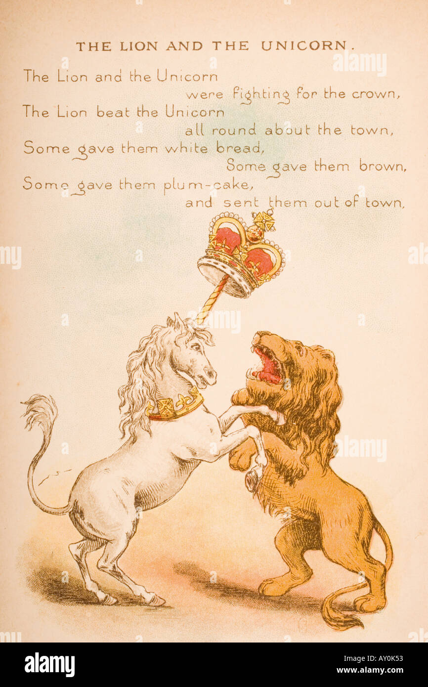 Nursery rhyme and illustration of The Lion and the Unicorn from Old Mother Goose s Rhymes and Tales - Stock Image
