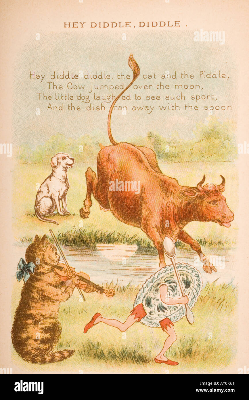 Nursery rhyme and illustration of Hey Diddle Diddle from Old Mother Goose s Rhymes and Tales - Stock Image