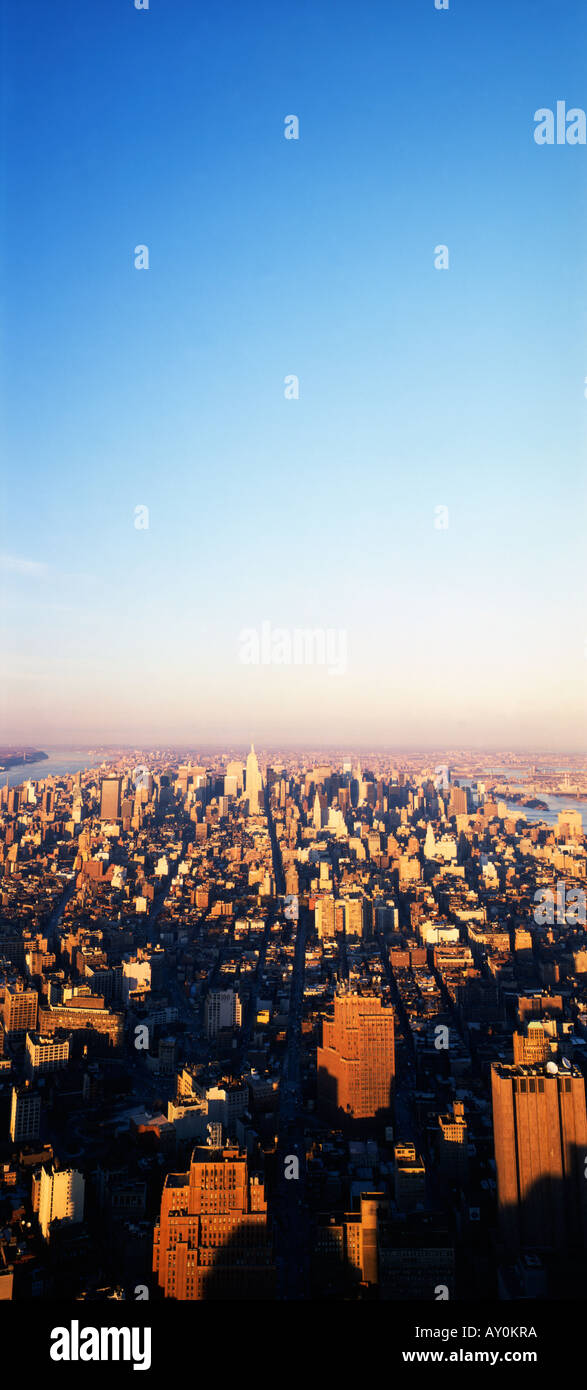 New York. View northward from World Trade Centre(Center) - Stock Image
