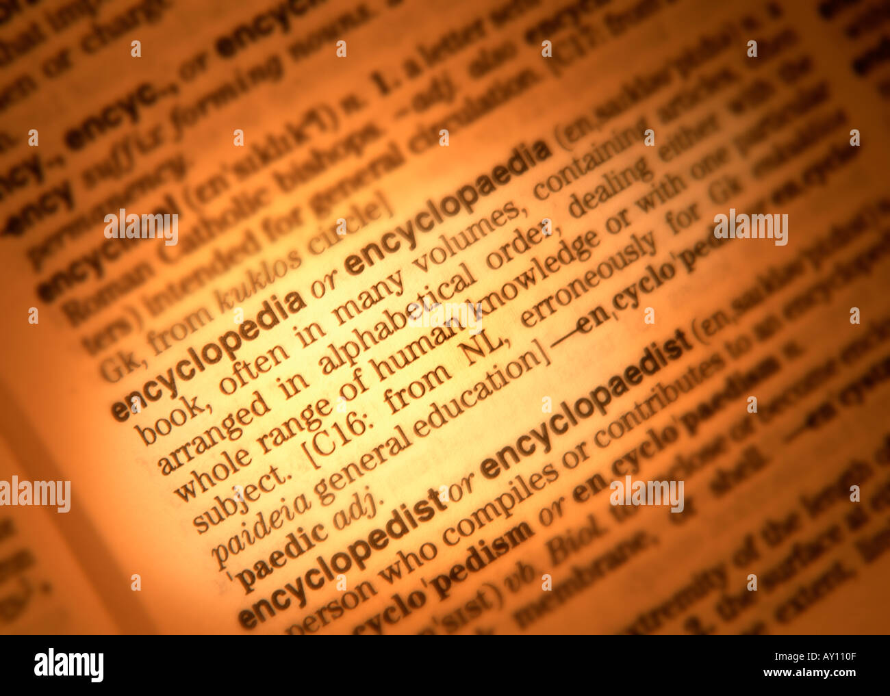 CLOSE UP OF DICTIONARY PAGE SHOWING DEFINITION OF THE WORD ENCYCLOPEDIA  ENCYCLOPEDIA   Stock Image