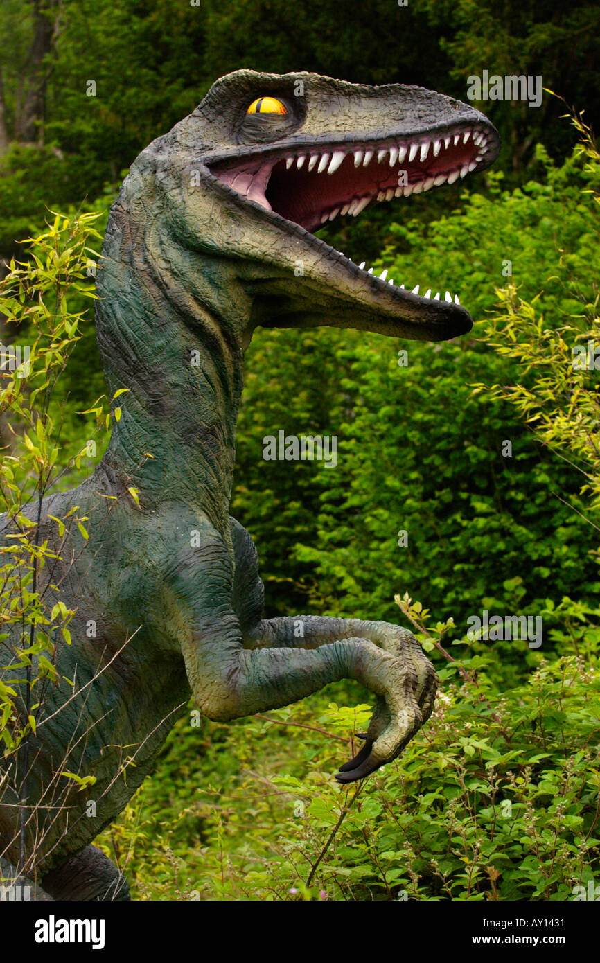 Worlds biggest dinosaur park at Dan yr Ogof Showcaves in Brecon Beacons National Park, Wales UK featuring 135 lifesize dinosaurs - Stock Image